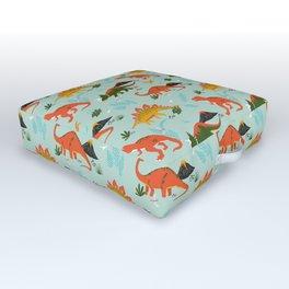 Jurassic Dinosaurs in Blue + Red Outdoor Floor Cushion