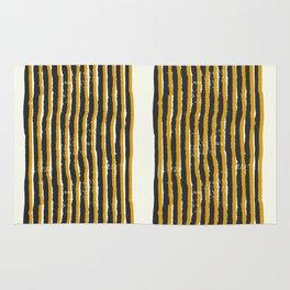 Zen Stripe Block Print Mustard Rug