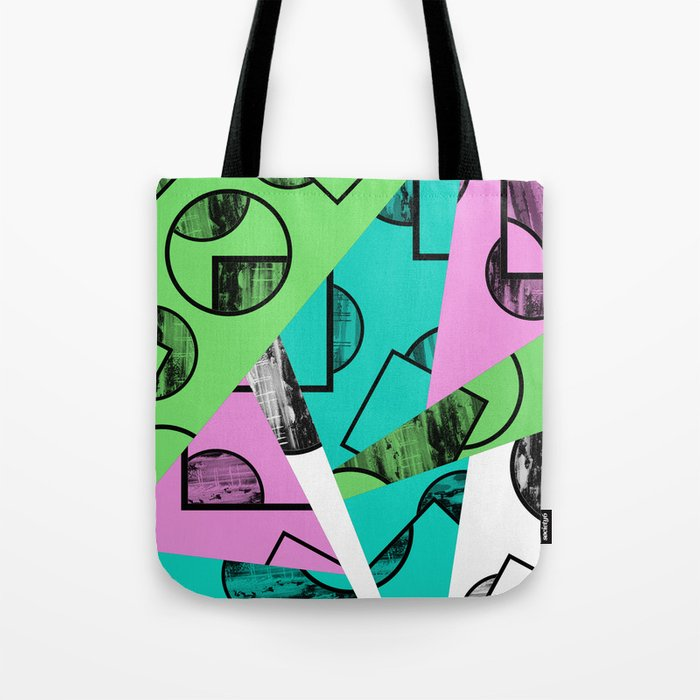Broken Pieces - Pastel coloured, geometric, textured abstract Tote Bag
