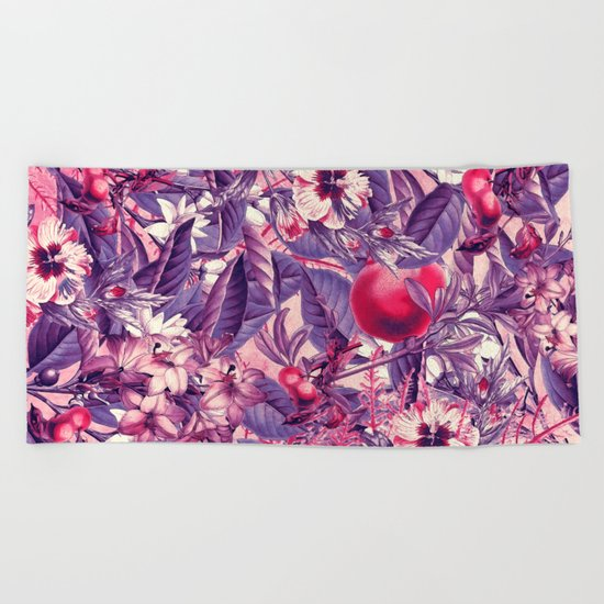 flowers 9 purple Beach Towel