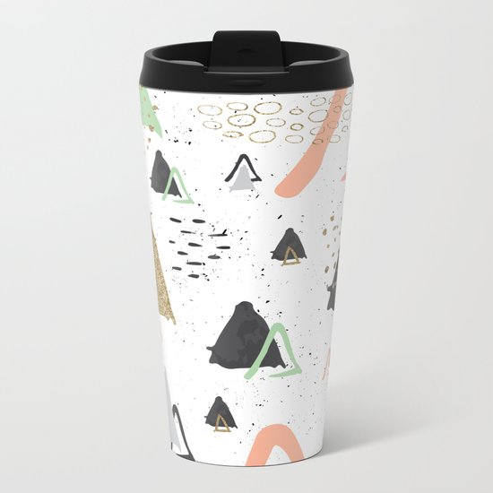 Triangles & textures watercolor Metal Travel Mug
