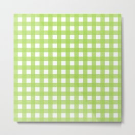 Farmhouse Gingham in Light Green Metal Print