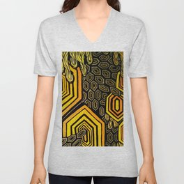 Hexagonal Reflections of an Empty Hive Unisex V-Neck