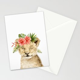 Baby Lion Cub with Flower Crown Stationery Cards