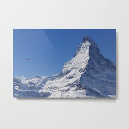 Zermatt and the Lone Parachuter Metal Print