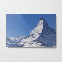 Zermatt and the Lone Parachuter Metal Print