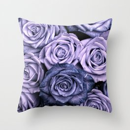 PURPLE ROSES floral flowers violet Throw Pillow