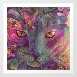 Purple Paisley Catnip (Electric Catnip) Art Print