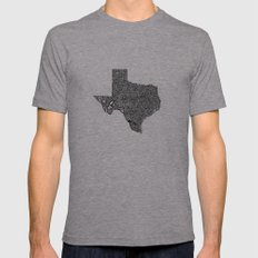 Typographic Texas 2X-LARGE Tri-Grey Mens Fitted Tee