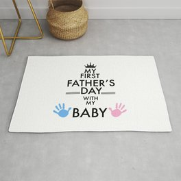 My first Father's Day greeting card with baby hand print. Father's Day greeting card Rug