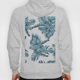Tropical Palm Leaves Hibiscus Flowers Blue Hoody