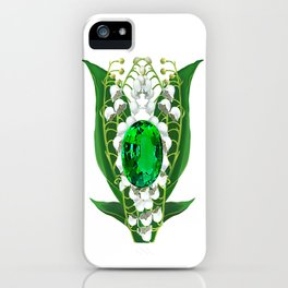 Birth Stone & Flower Print/MAY iPhone Case
