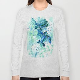 Turquoise Blue Sea Turtles in Ocean Long Sleeve T-shirt