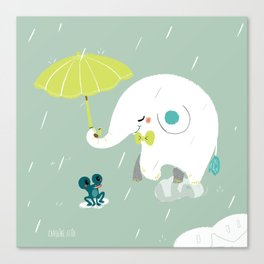 Rainy Elephant Canvas Print