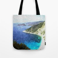 greek Tote Bags featuring Greek coastline by Brian Raggatt