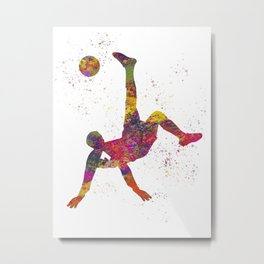 Soccer player isolated 09 in watercolor Metal Print