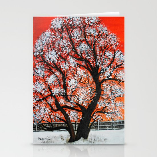 Snowy old tree Stationery Cards