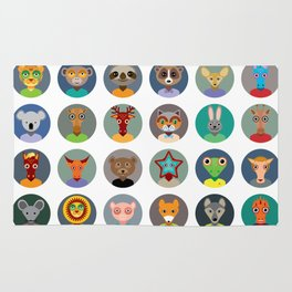 Set of animals faces circle icons set in Trendy Flat Style. zoo Rug