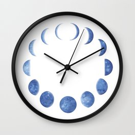 Blue Moon Phases   Watercolor Painting Wall Clock