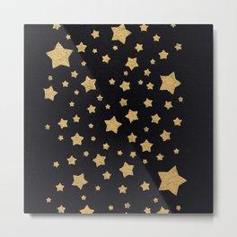 Gold Stars on BLack Metal Print