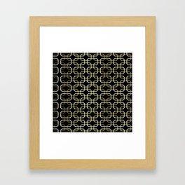 Black White and Gold Octagonal interlocking shapes Framed Art Print