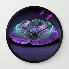 Water lily in a purple pond Wall Clock