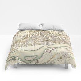 Vintage Map of Warsaw Poland (1831) Comforters