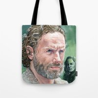 rick grimes Tote Bags featuring Rick Grimes by Mark Satchwill Art