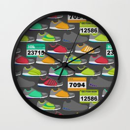 Running Shoes and Race Bibs Wall Clock