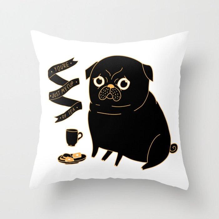 Tea Pug Throw Pillow