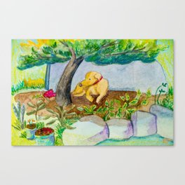 Watercolor dog resting Canvas Print