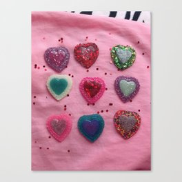 Glitter Hearts Club Canvas Print