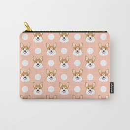 Corgi polka dots peach blush pastel pink coral welsh corgi iphone case for dog lover gifts for dogs Carry-All Pouch