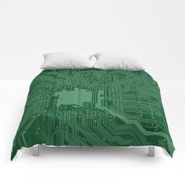 Green Geek Motherboard Circuit Pattern Comforters