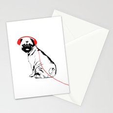 Pug Dog with earphones  Stationery Cards