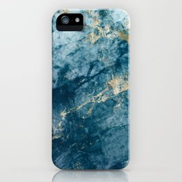 Turquoise & Gold Marble iPhone Case