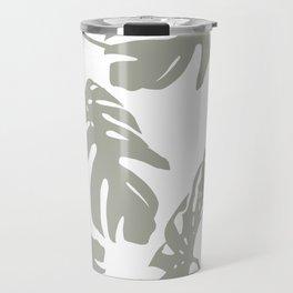 Simply Retro Gray Palm Leaves on White Travel Mug