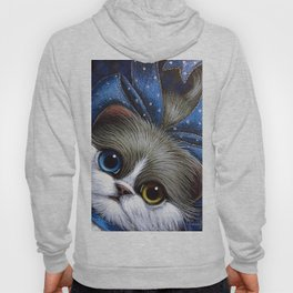 BICOLOR PERSIAN CAT with ODD EYES AND BLUE BOW Hoody