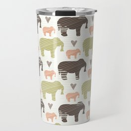 Brown Pink and Green Elephant Silhouette Seamless Travel Mug
