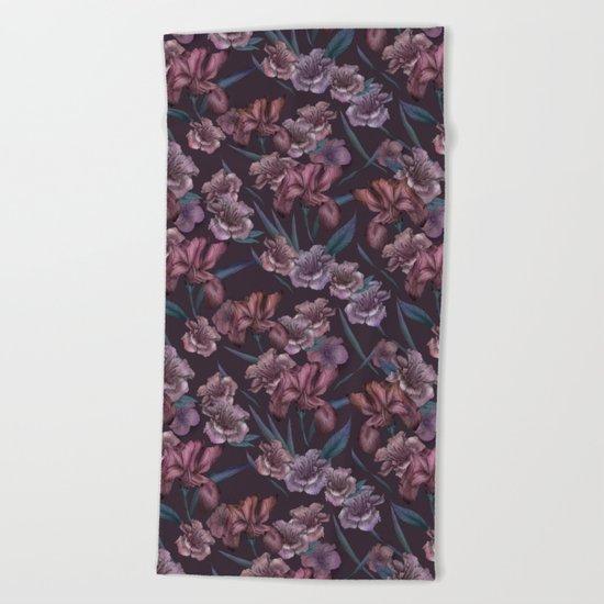 Hand-Drawn Bohemian Floral  Beach Towel