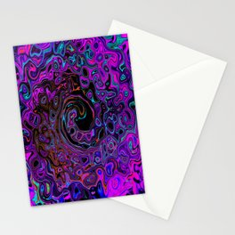 Trippy Black and Magenta Retro Liquid Swirl Stationery Cards