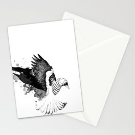 Black Fox winged Magpie Stationery Cards