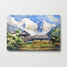 Old House By The Mountain Metal Print