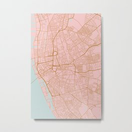 Liverpool map, UK Metal Print