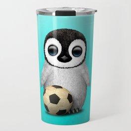 Cute Baby Penguin With Football Soccer Ball Travel Mug