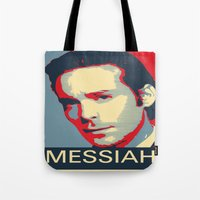 battlestar Tote Bags featuring Baltar 'Messiah' design. Inspired by Battlestar Galactica. by hypergeek