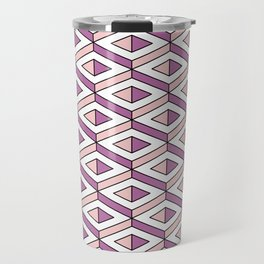 3D geometric pattern in rose quartz and bodacious colours Travel Mug