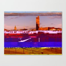 Stockholm Glitched Canvas Print