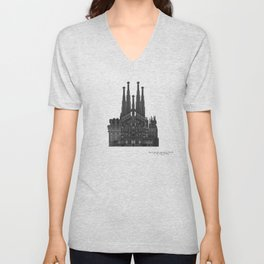 HexArchi - Spain, Barcelona, Basilica and Expiatory Church of the Holy Family Unisex V-Neck
