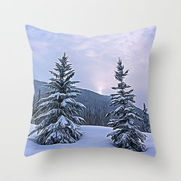 Winter Tree Buddies Throw Pillow